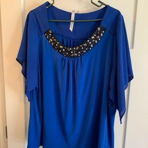 Plus size 3x Flowy Blue Blouse